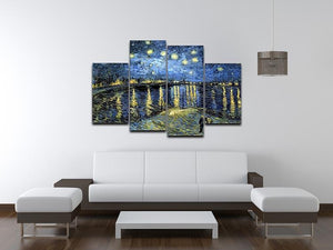 Starry Night over the Rhone 4 Split Panel Canvas - Canvas Art Rocks - 3