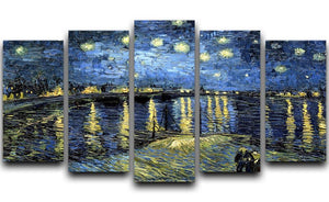 Starry Night over the Rhone 5 Split Panel Canvas  - Canvas Art Rocks - 1