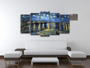 Starry Night over the Rhone 5 Split Panel Canvas - Canvas Art Rocks - 3