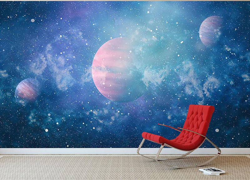 Stary Planet Space Wall Mural Wallpaper - Canvas Art Rocks - 1