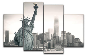 Statue of Liberty with cityscape 4 Split Panel Canvas  - Canvas Art Rocks - 1