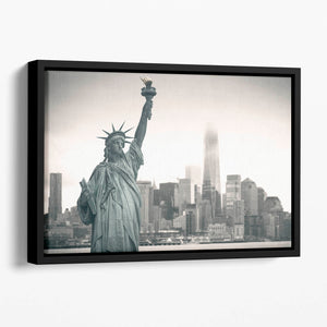 Statue of Liberty with cityscape Floating Framed Canvas