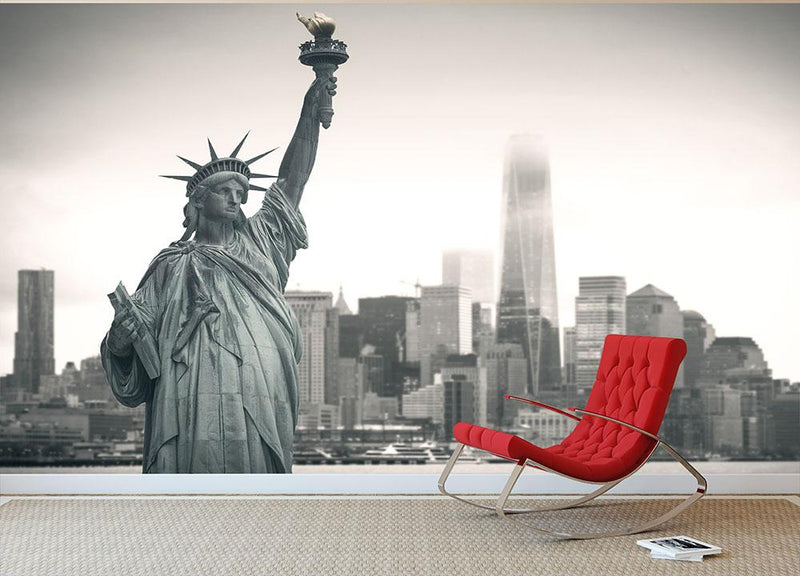 Statue of Liberty with cityscape Wall Mural Wallpaper - Canvas Art Rocks - 1