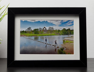Stepping stones at Bolton Abbey Framed Print - Canvas Art Rocks - 1