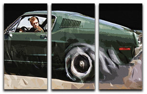 Steve McQueen Bullitt Reverse 3 Split Panel Canvas Print - Canvas Art Rocks - 1