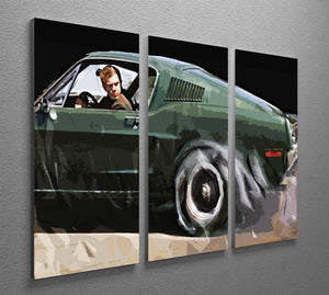 Steve McQueen Bullitt Reverse 3 Split Panel Canvas Print - Canvas Art Rocks - 2