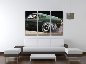 Steve McQueen Bullitt Reverse 3 Split Panel Canvas Print - Canvas Art Rocks - 3