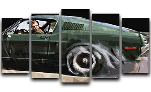 Steve McQueen Bullitt Reverse 5 Split Panel Canvas  - Canvas Art Rocks - 1