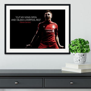 Steven Gerrard Liverpool Red Framed Print - Canvas Art Rocks - 1