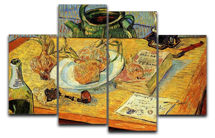 Still Life Drawing Board Pipe Onions and Sealing-Wax by Van Gogh 4 Split Panel Canvas