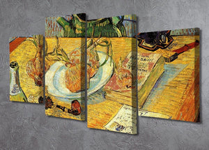 Still Life Drawing Board Pipe Onions and Sealing-Wax by Van Gogh 4 Split Panel Canvas - Canvas Art Rocks - 2