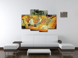 Still Life Drawing Board Pipe Onions and Sealing-Wax by Van Gogh 4 Split Panel Canvas - Canvas Art Rocks - 3
