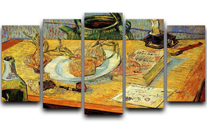 Still Life Drawing Board Pipe Onions and Sealing-Wax by Van Gogh 5 Split Panel Canvas  - Canvas Art Rocks - 1