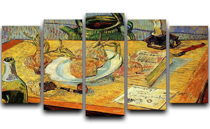 Still Life Drawing Board Pipe Onions and Sealing-Wax by Van Gogh 5 Split Panel Canvas
