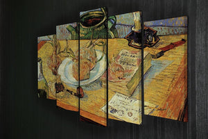 Still Life Drawing Board Pipe Onions and Sealing-Wax by Van Gogh 5 Split Panel Canvas - Canvas Art Rocks - 2
