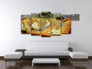 Still Life Drawing Board Pipe Onions and Sealing-Wax by Van Gogh 5 Split Panel Canvas - Canvas Art Rocks - 3