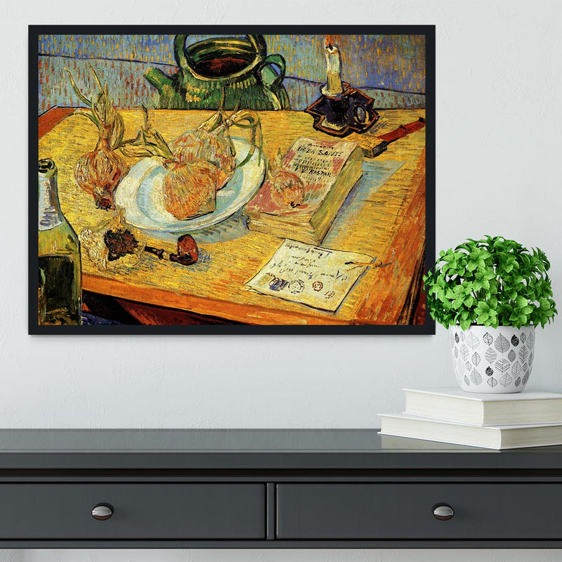 Still Life Drawing Board Pipe Onions and Sealing-Wax by Van Gogh Framed Print - Canvas Art Rocks - 2