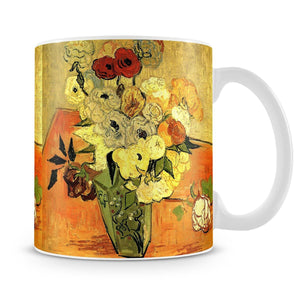 Still Life Japanese Vase with Roses and Anemones by Van Gogh Mug - Canvas Art Rocks - 4