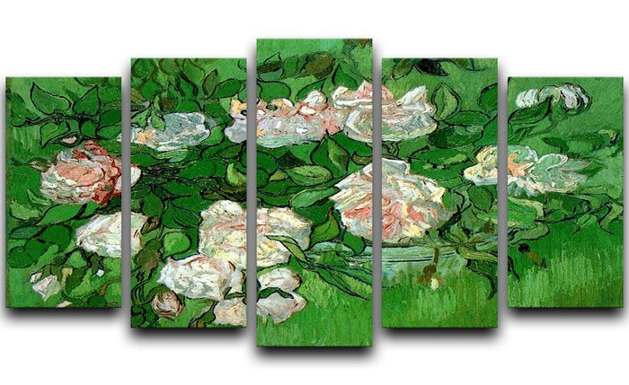 Still Life Pink Roses by Van Gogh 5 Split Panel Canvas