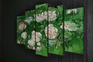 Still Life Pink Roses by Van Gogh 5 Split Panel Canvas - Canvas Art Rocks - 2