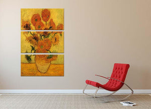 Still Life Vase with Fifteen Sunflowers 2 by Van Gogh 3 Split Panel Canvas Print - Canvas Art Rocks - 2