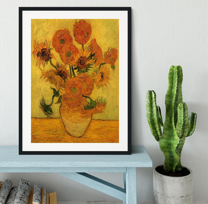 Still Life Vase with Fifteen Sunflowers 2 by Van Gogh Framed Print