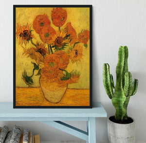 Still Life Vase with Fifteen Sunflowers 2 by Van Gogh Framed Print - Canvas Art Rocks - 2