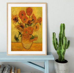 Still Life Vase with Fifteen Sunflowers 2 by Van Gogh Framed Print - Canvas Art Rocks - 3