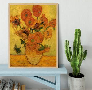 Still Life Vase with Fifteen Sunflowers 2 by Van Gogh Framed Print - Canvas Art Rocks - 4