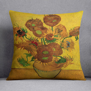 Still Life Vase with Fifteen Sunflowers by Van Gogh Cushion