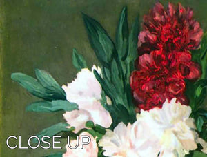 Still Life Vase with Peonies by Manet 3 Split Panel Canvas Print - Canvas Art Rocks - 3