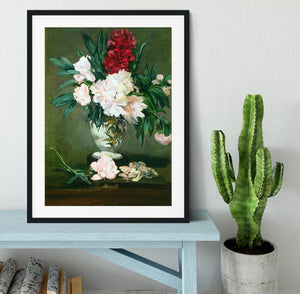 Still Life Vase with Peonies by Manet Framed Print - Canvas Art Rocks - 1