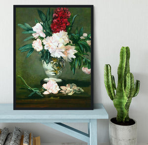 Still Life Vase with Peonies by Manet Framed Print - Canvas Art Rocks - 2