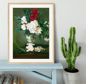 Still Life Vase with Peonies by Manet Framed Print - Canvas Art Rocks - 3