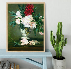 Still Life Vase with Peonies by Manet Framed Print - Canvas Art Rocks - 4