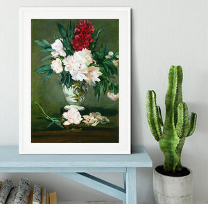 Still Life Vase with Peonies by Manet Framed Print - Canvas Art Rocks - 5