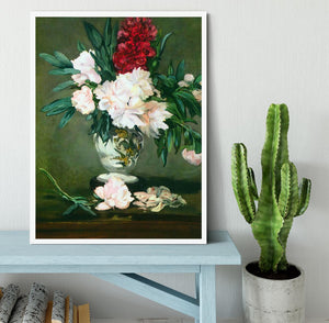 Still Life Vase with Peonies by Manet Framed Print - Canvas Art Rocks -6