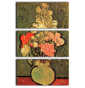 Still Life Vase with Rose-Mallows by Van Gogh 3 Split Panel Canvas Print - Canvas Art Rocks - 1
