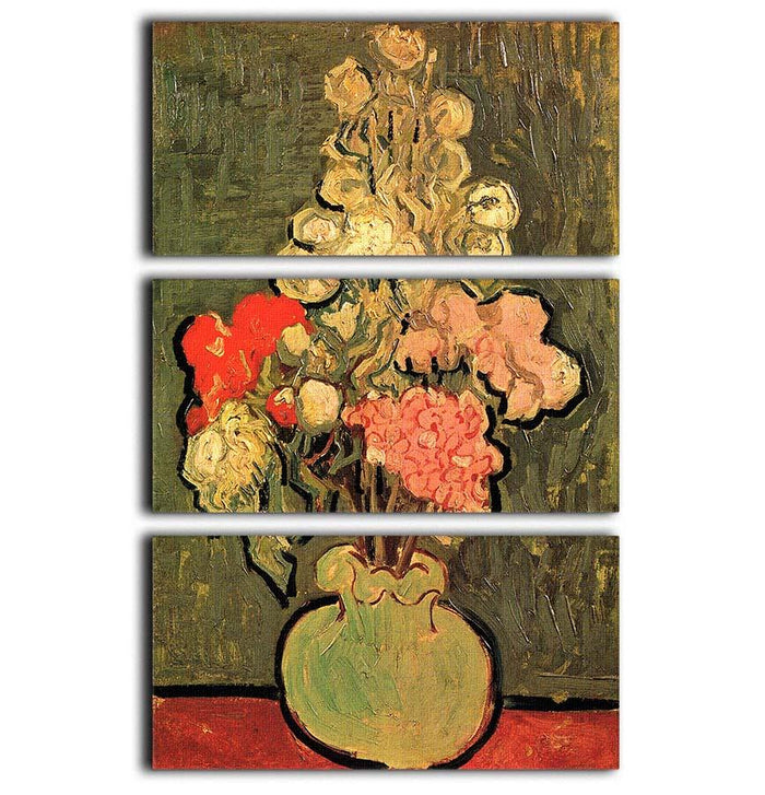 Still Life Vase with Rose-Mallows by Van Gogh 3 Split Panel Canvas Print