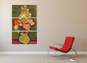 Still Life Vase with Rose-Mallows by Van Gogh 3 Split Panel Canvas Print - Canvas Art Rocks - 2