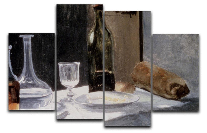 Still Life With Bottles by Monet 4 Split Panel Canvas