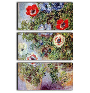 Still Life with Anemones by Monet 3 Split Panel Canvas Print - Canvas Art Rocks - 1