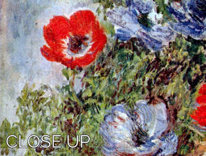 Still Life with Anemones by Monet 3 Split Panel Canvas Print - Canvas Art Rocks - 3