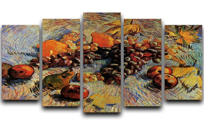 Still Life with Apples Pears Lemons and Grapes by Van Gogh 5 Split Panel Canvas