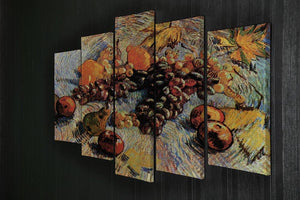 Still Life with Apples Pears Lemons and Grapes by Van Gogh 5 Split Panel Canvas - Canvas Art Rocks - 2