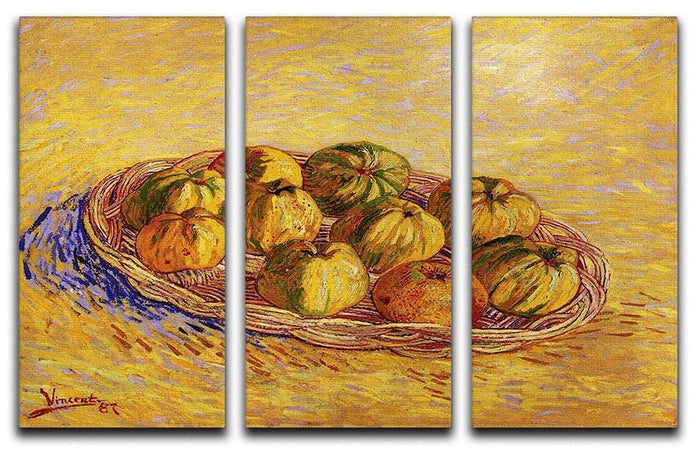 Still Life with Basket of Apples by Van Gogh 3 Split Panel Canvas Print