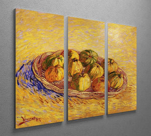 Still Life with Basket of Apples by Van Gogh 3 Split Panel Canvas Print - Canvas Art Rocks - 4