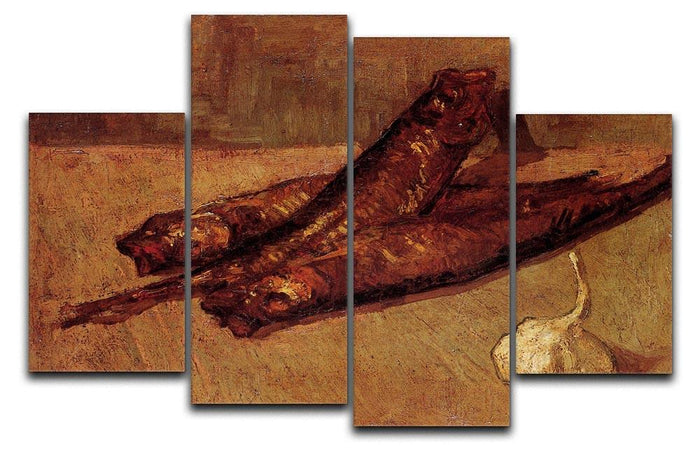 Still Life with Bloaters and Garlic by Van Gogh 4 Split Panel Canvas