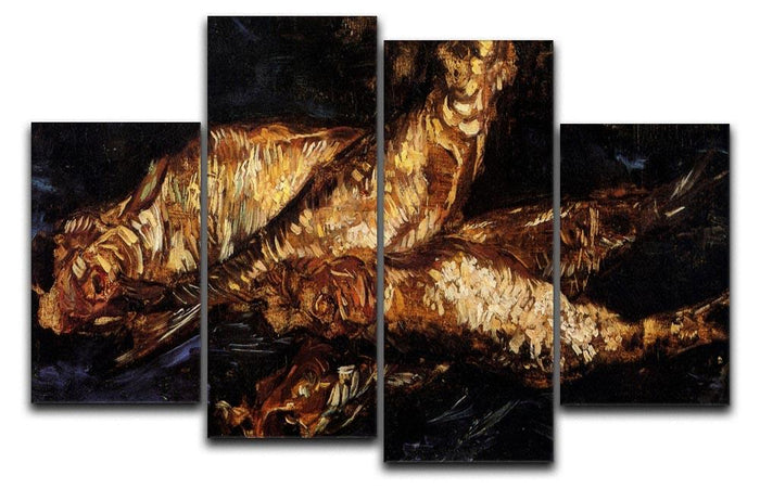 Still Life with Bloaters by Van Gogh 4 Split Panel Canvas