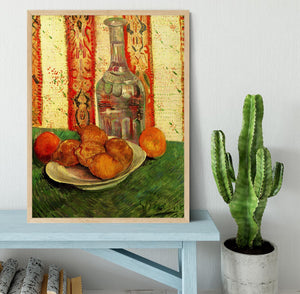 Still Life with Decanter and Lemons on a Plate by Van Gogh Framed Print - Canvas Art Rocks - 4